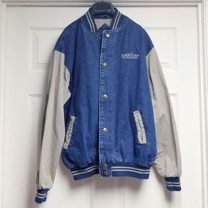 Luna pier men's blue denim bomber jacket size M